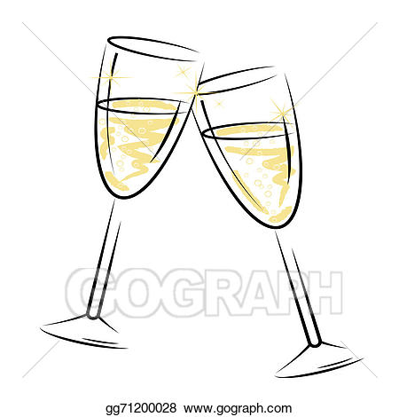 Stock illustration glasses represents. Champagne clipart alcohol