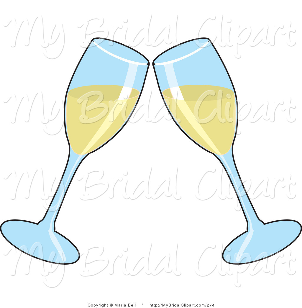 Bridal of two glasses. Champagne clipart anniversary