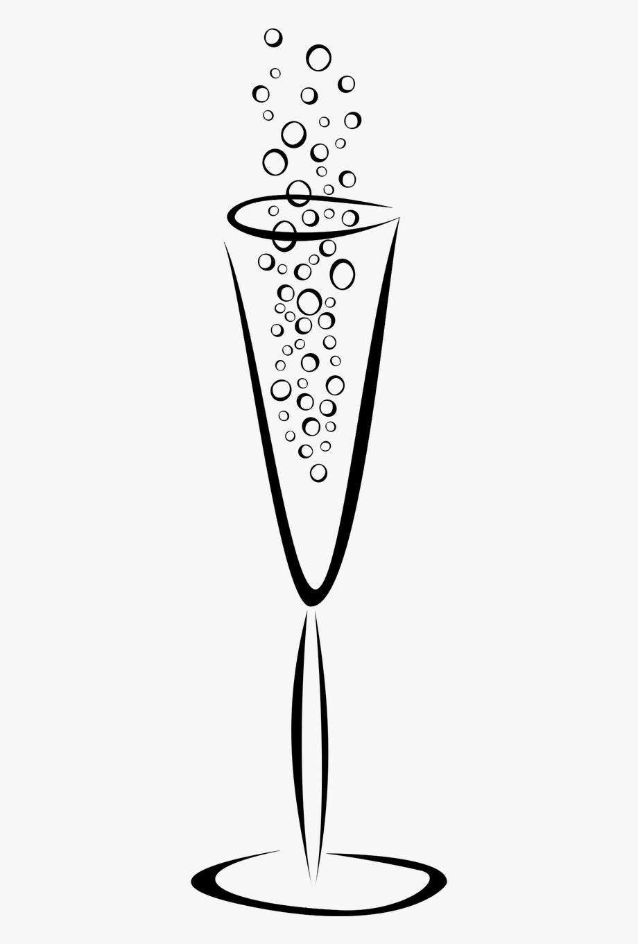 Bubbles champagne glass free. Flutes clipart line art