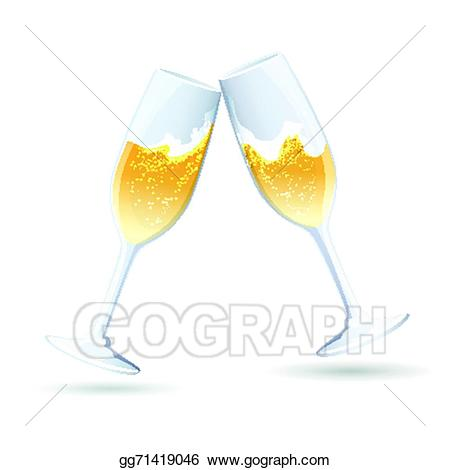 Champaign clipart bubbly. Vector illustration two flutes
