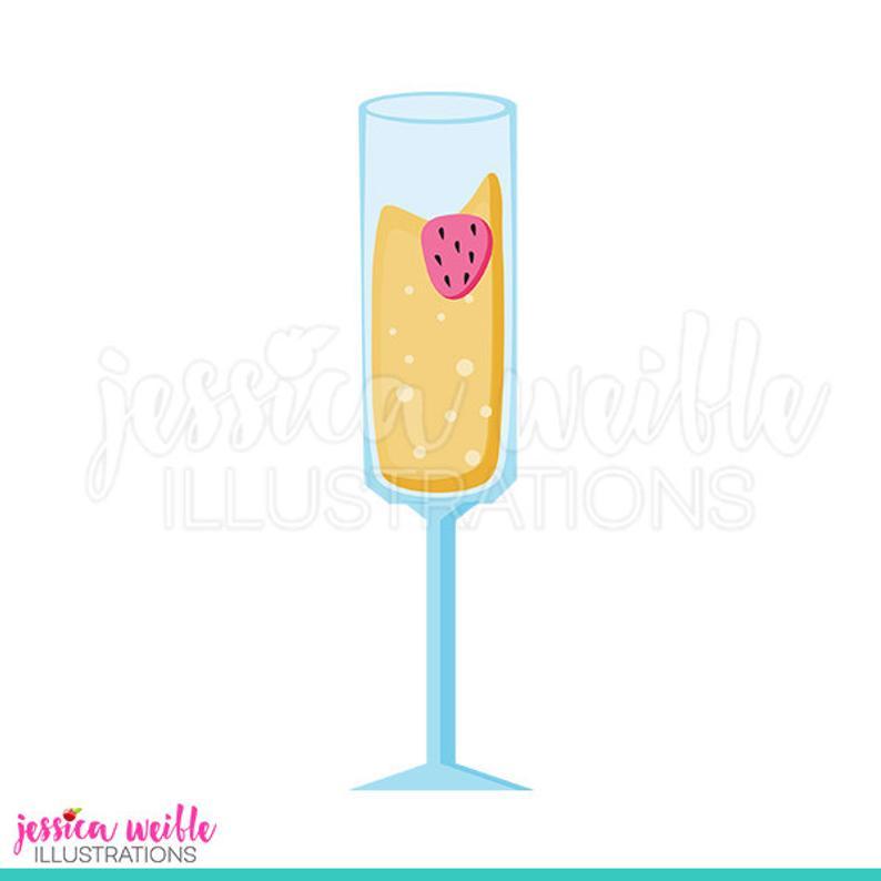 Strawberry mimosa cute digital. Champaign clipart bubbly