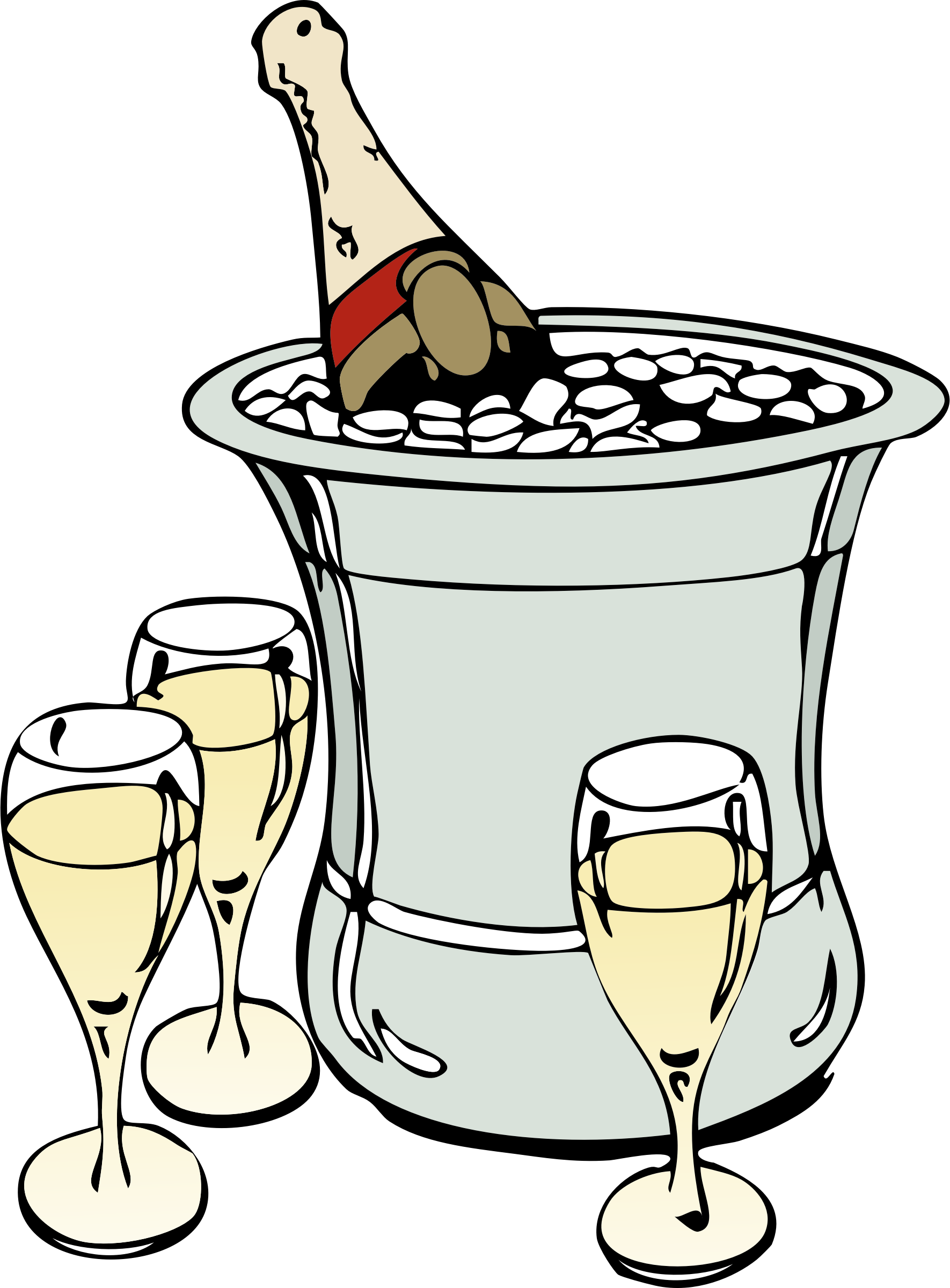 Champagne on ice big. Champaign clipart cartoon