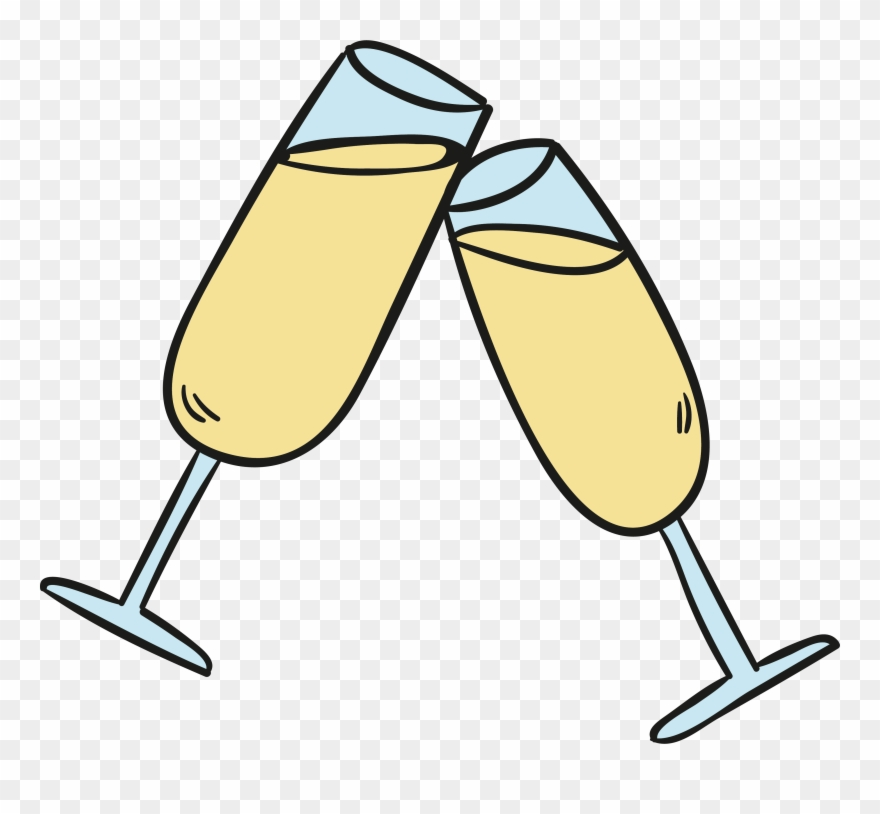 Champagne clipart cartoon. Png black and white