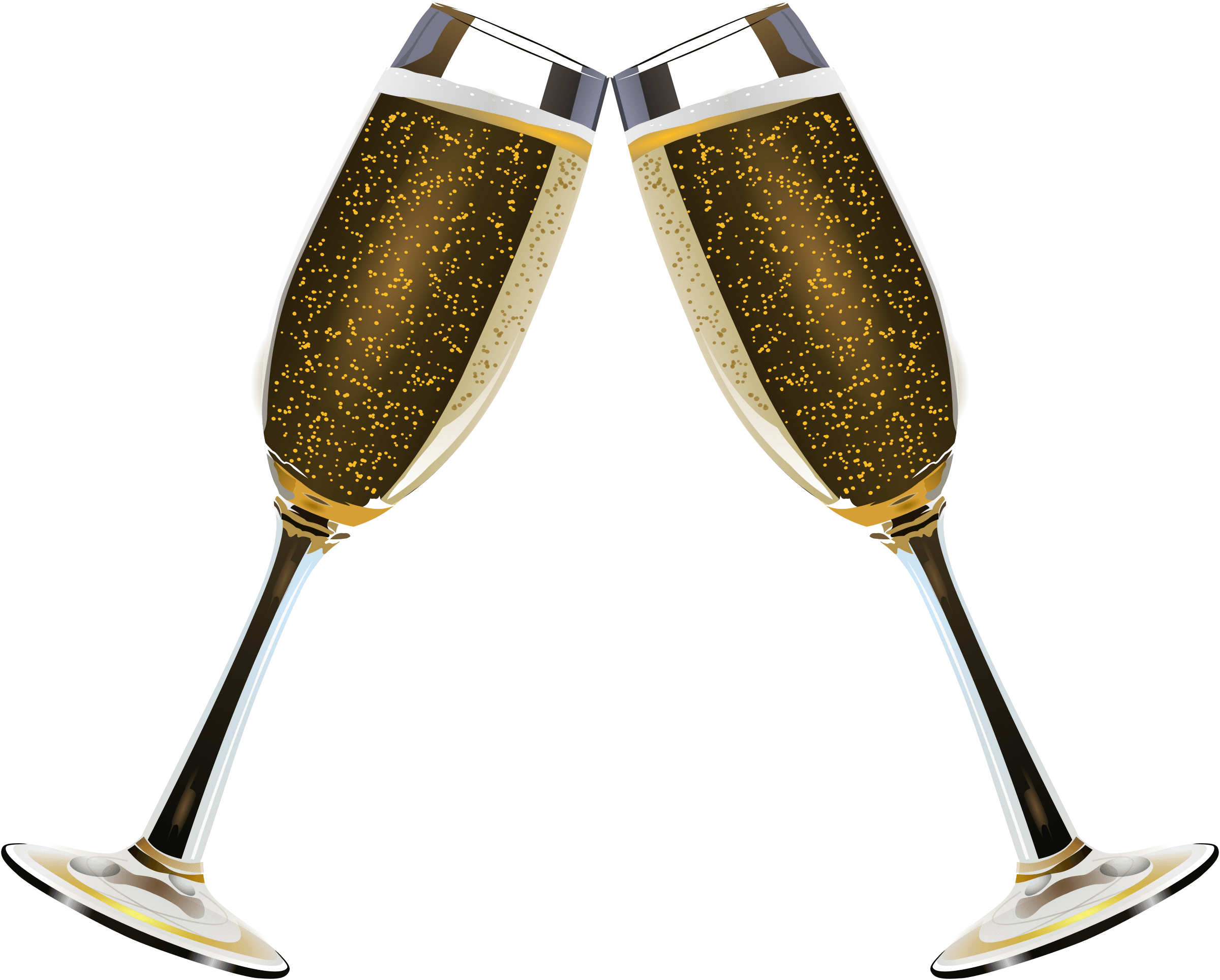 Glass of champagne bubbles. Flutes clipart cartoon