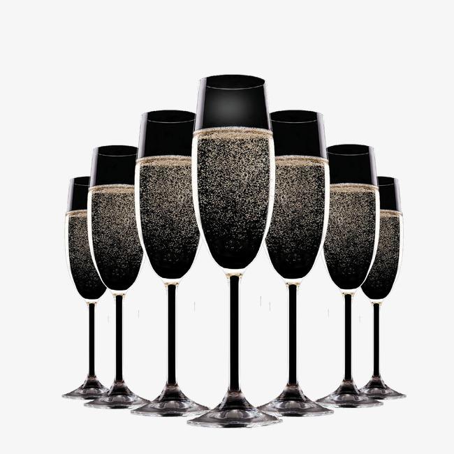 Black gold decorative decoration. Champagne clipart champagne bubble