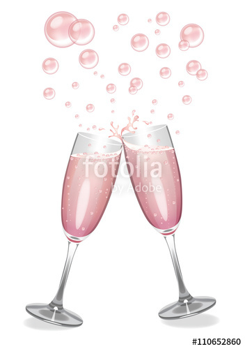 Champagne clipart champagne bubble. Pink glasses clinking stock