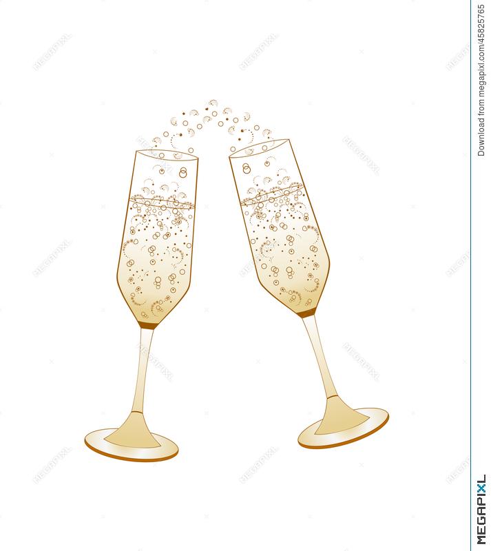 Champaign clipart bubbly. Champagne glasses golden wedding