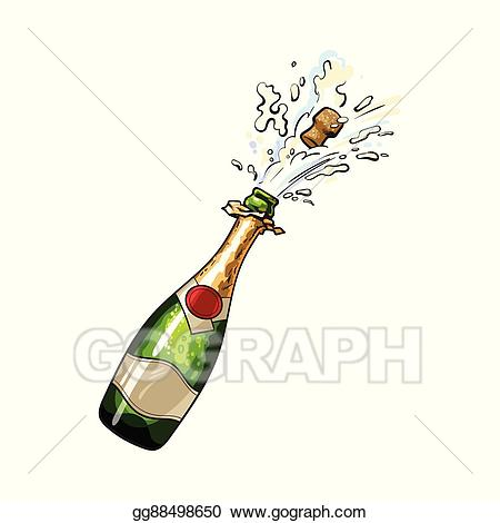 Vector art bottle with. Champaign clipart champagne celebration