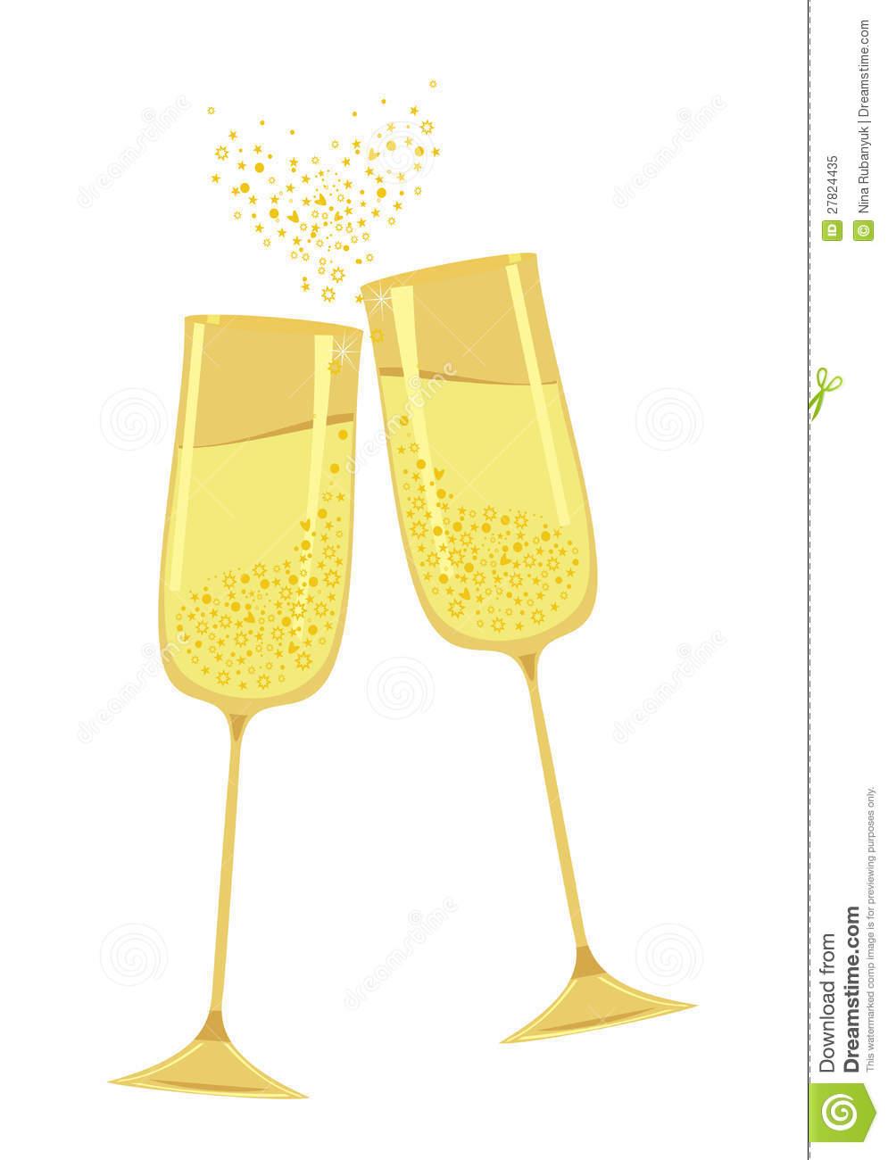 Gold flutes . Champagne clipart champagne flute
