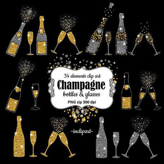 Champagne clipart champange. Bottles glasses glitter overlay