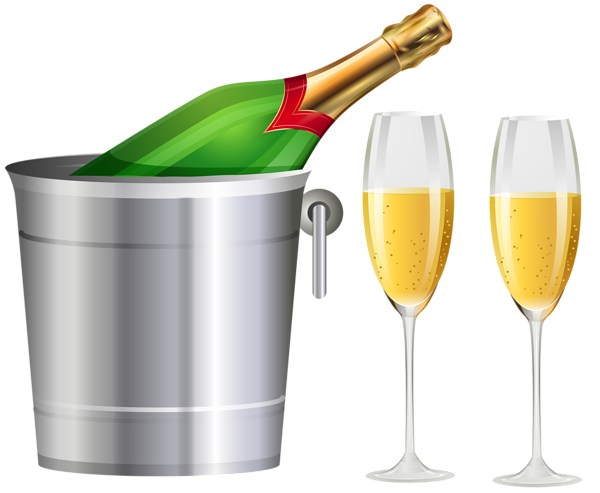 Champagne bottle and glasses. Champaign clipart champaigne