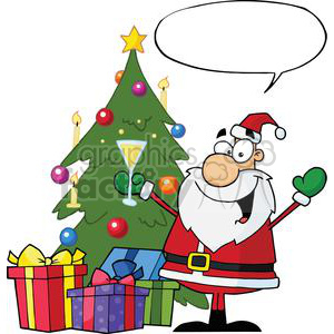 Santa drinking and standing. Champagne clipart christmas