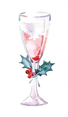 Watercolor set hand drawn. Champaign clipart christmas