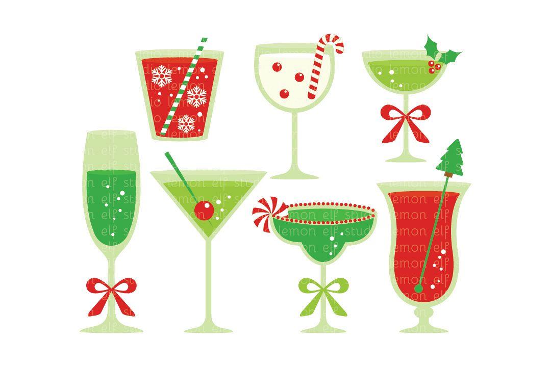 Champagne clipart christmas. Cocktails digital les cl