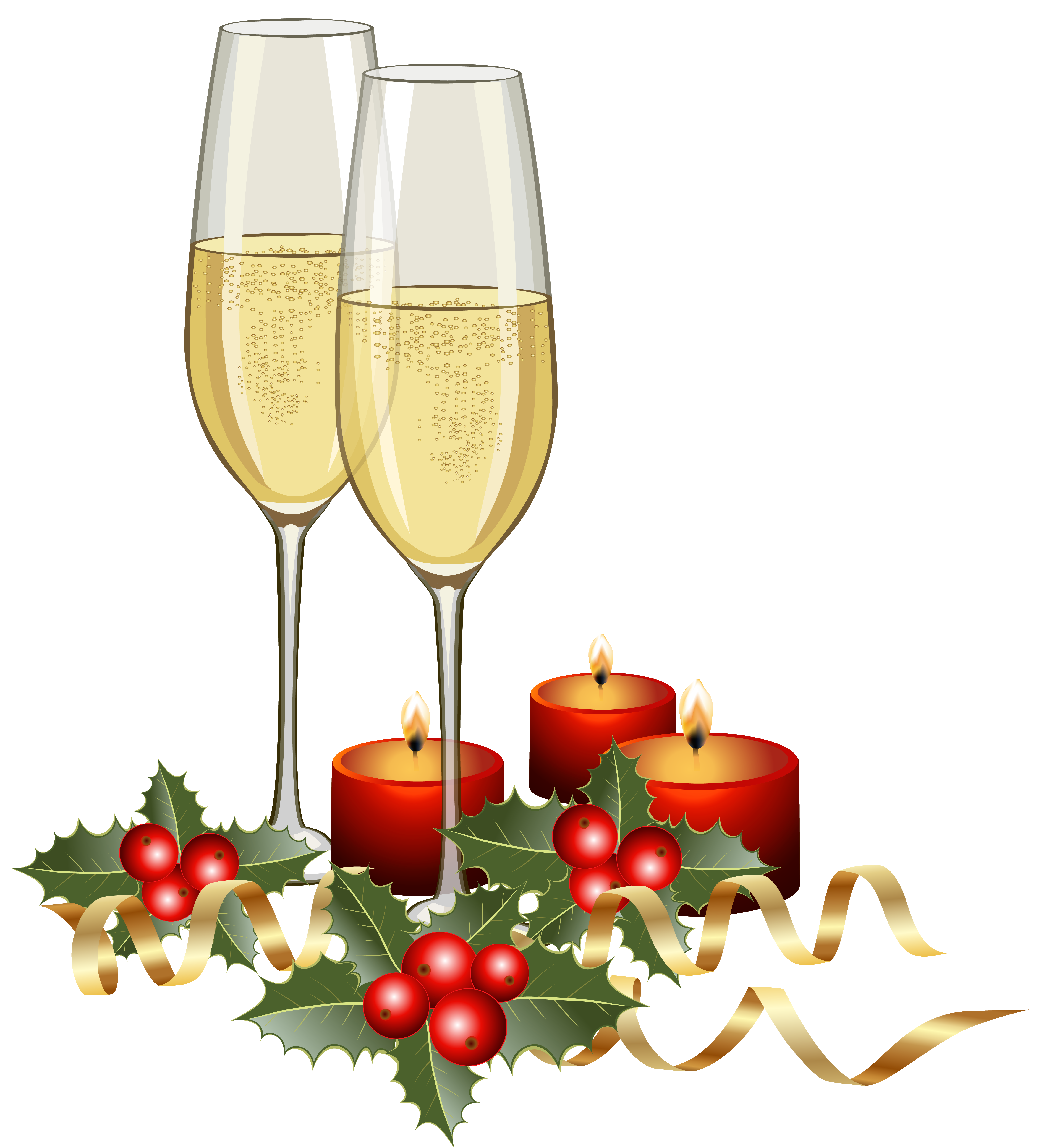 Champagne and candles png. Champaign clipart christmas