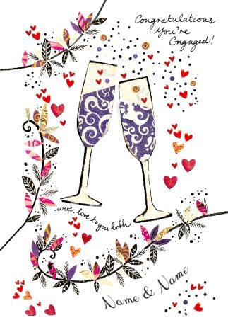 Artisan engagement card champagne. Champaign clipart congratulation