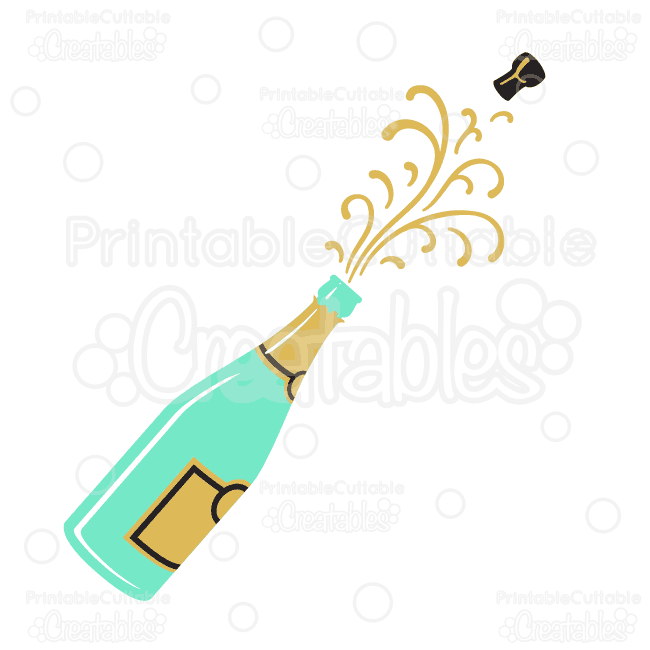Popping svg cutting . Champagne clipart file