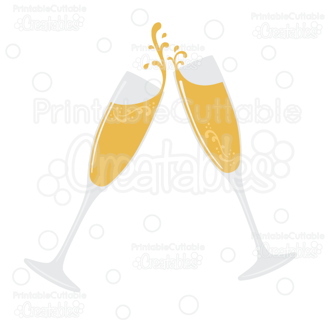 Flourish glasses svg cut. Champagne clipart file