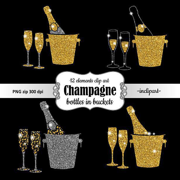 Bottle in bucket glasses. Champagne clipart glitter