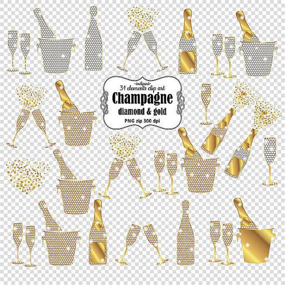 Champagne clipart glitter. Bottles glasses buckets gold