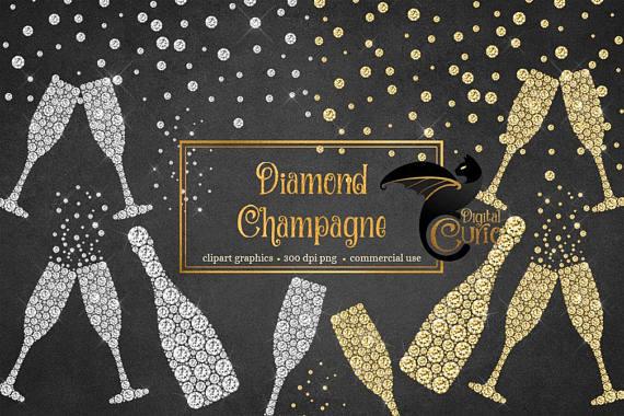 Diamond sparkle new year. Champagne clipart glitter