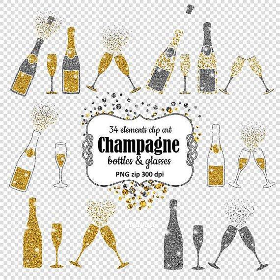 Bottles glasses overlay clip. Champagne clipart glitter