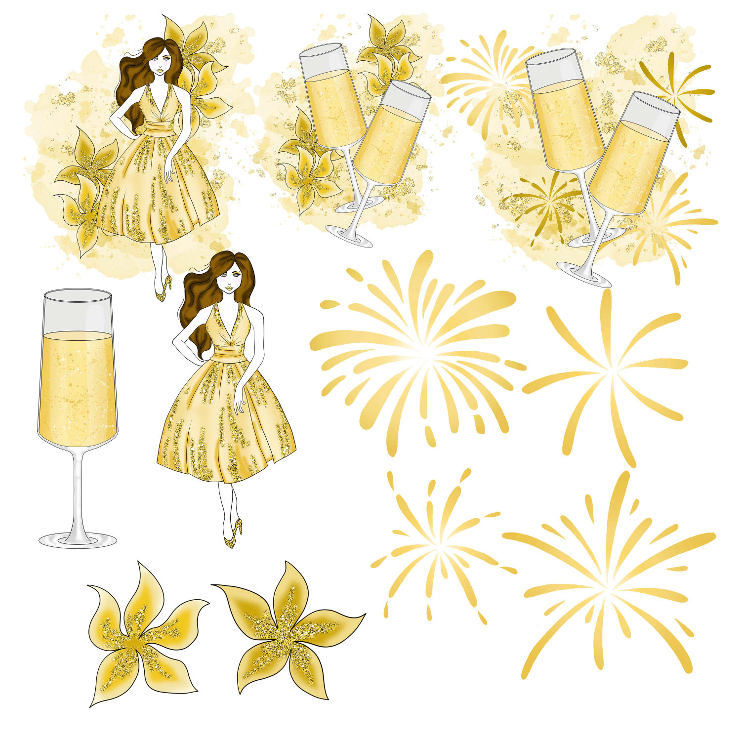 Champagne clipart glitter. New years party fashion