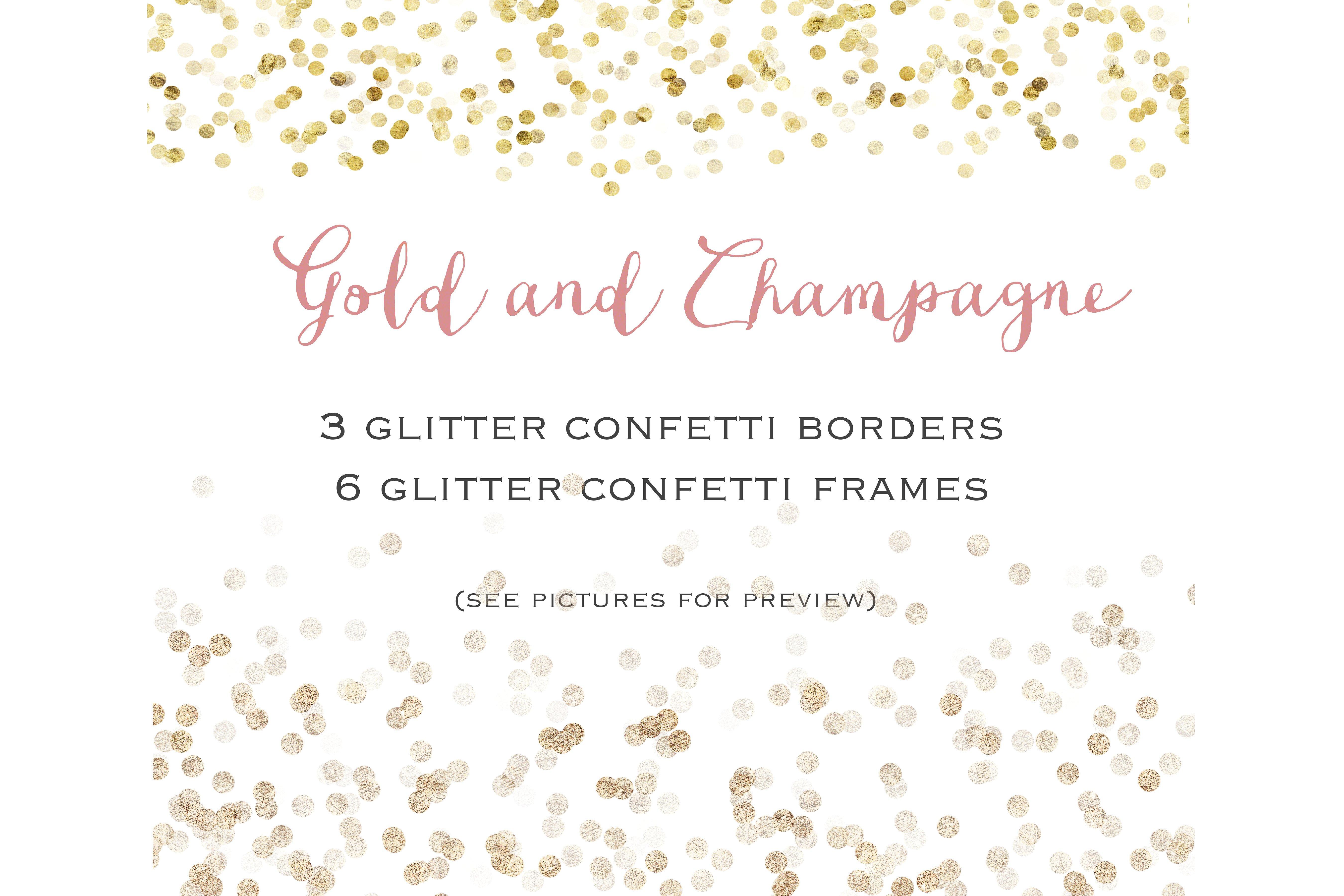 Gold confetti set illustrations. Champagne clipart glitter