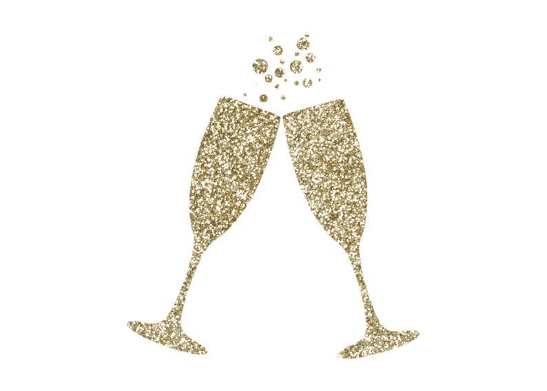 Champagne clipart glitter. Gold flutes