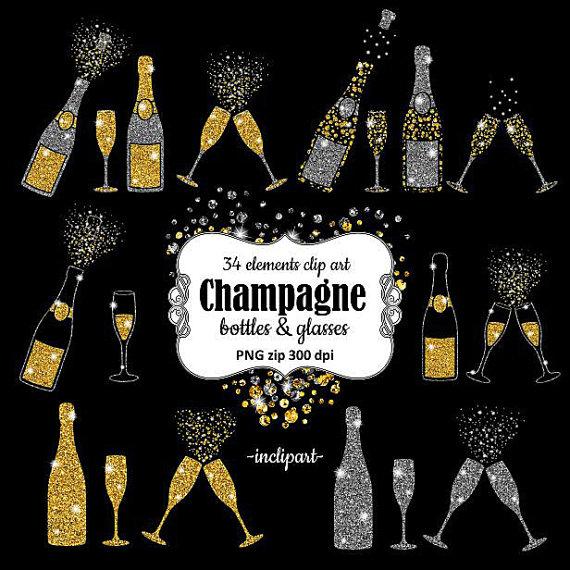 Champagne clipart glitter. Bottles glasses overlay clip