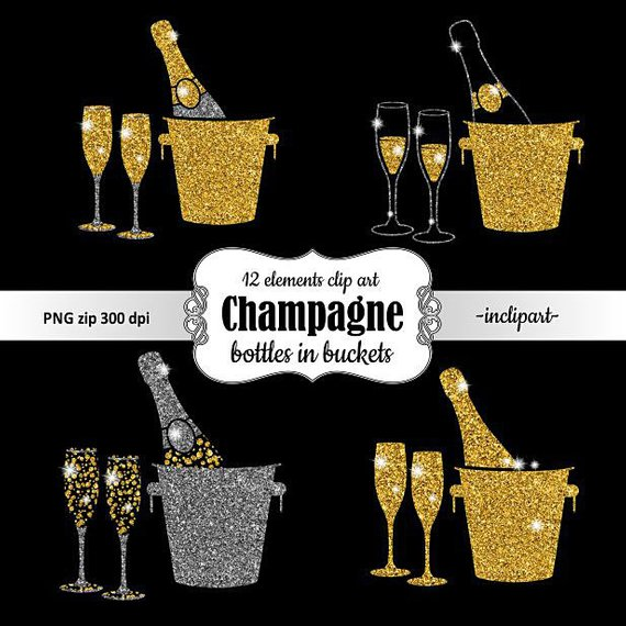 Bottle in bucket glasses. Champagne clipart gold champagne