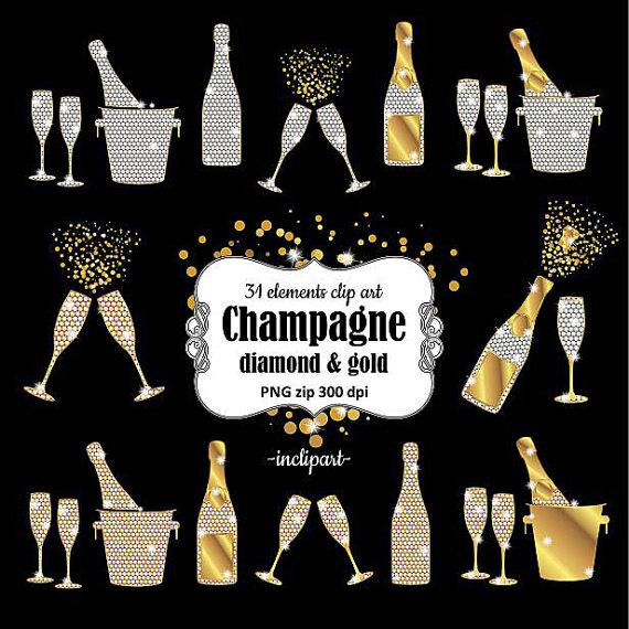 Champagne clipart gold champagne. Bottles glasses buckets diamond