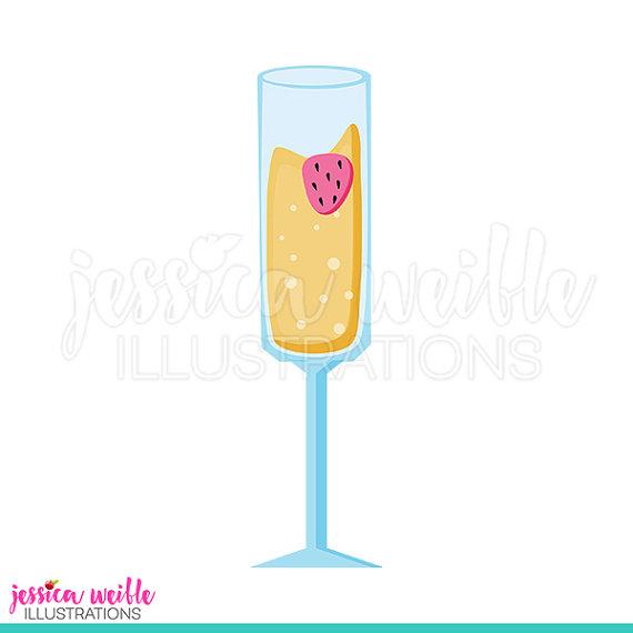 Strawberry cute digital clip. Champaign clipart mimosa glass