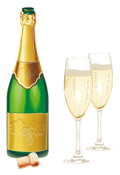 Champaign clipart new years eve. Year open champagne with