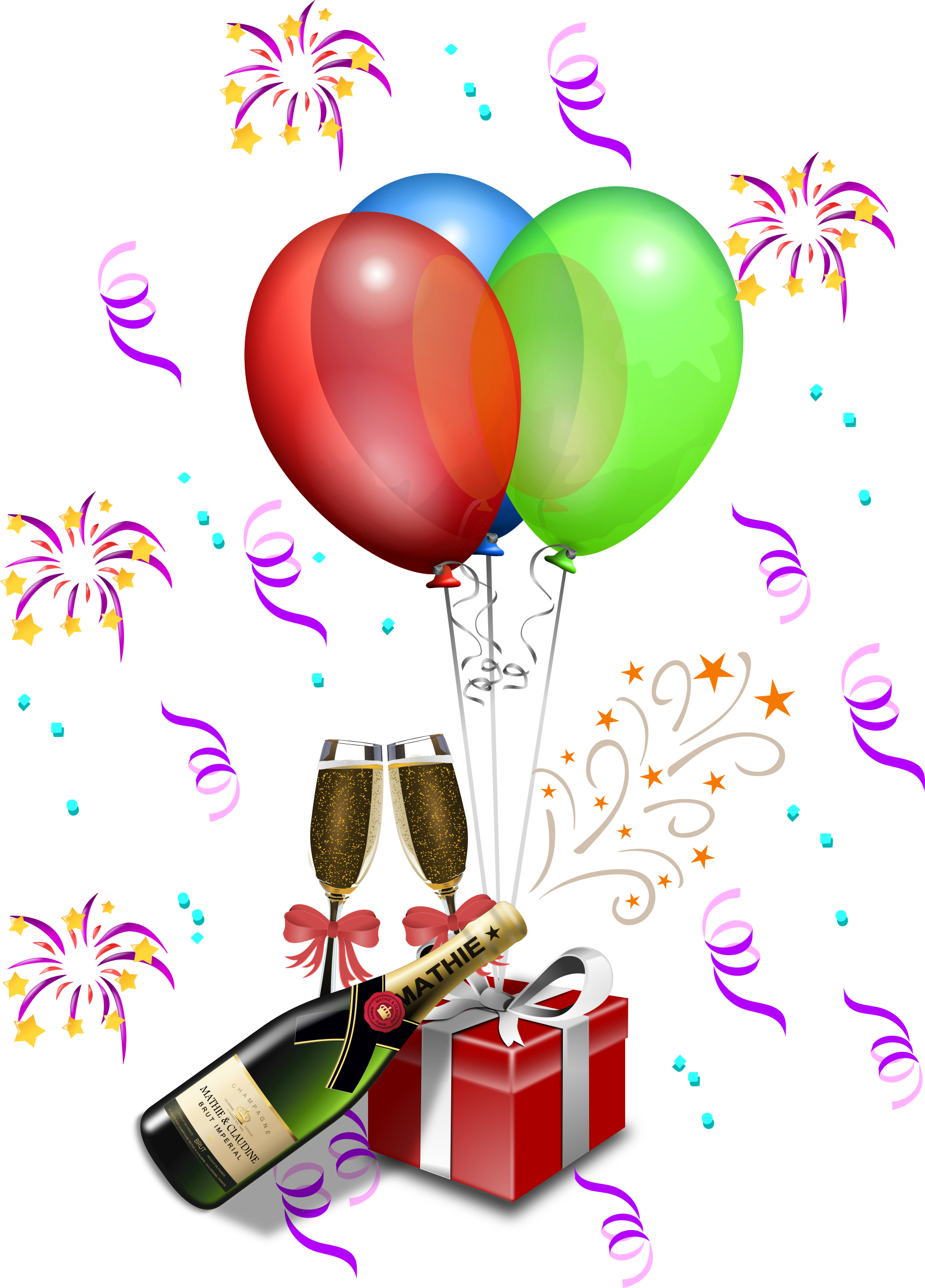 Champagne showers big image. Clipart glasses new year