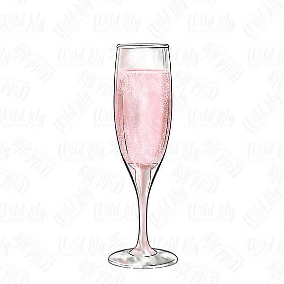 CHAMPAGNE GLASS CLIPART pink champagne glass clip art retro
