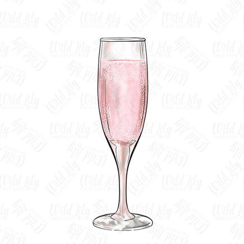 Glass clip art retro. Champagne clipart pink champagne