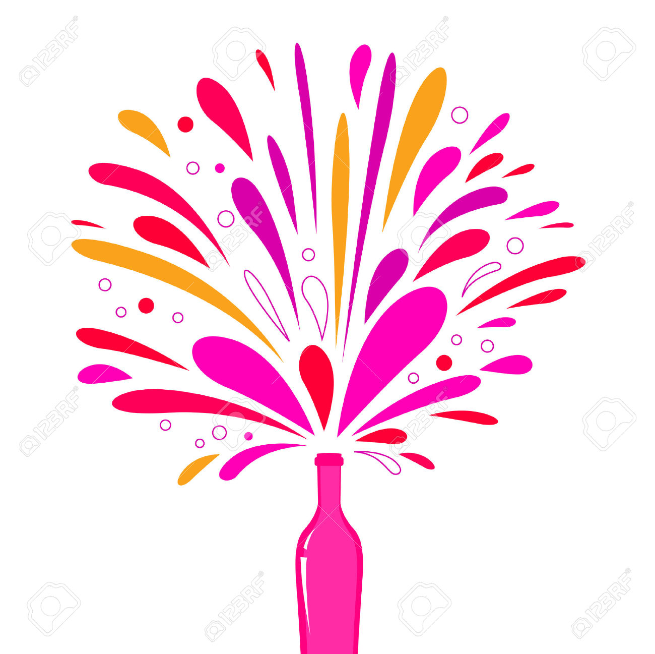Champagne Explosion. Champagne Bottle Pop And Fizz Vector Illustration..  Royalty Free Cliparts, Vectors, And Stock Illustration. Image 103060275.