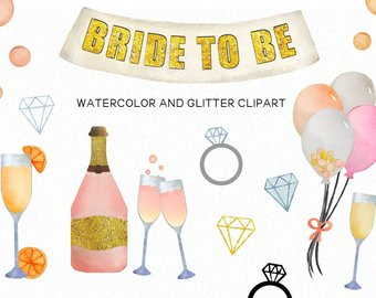 Champagne clipart prom. Bride etsy