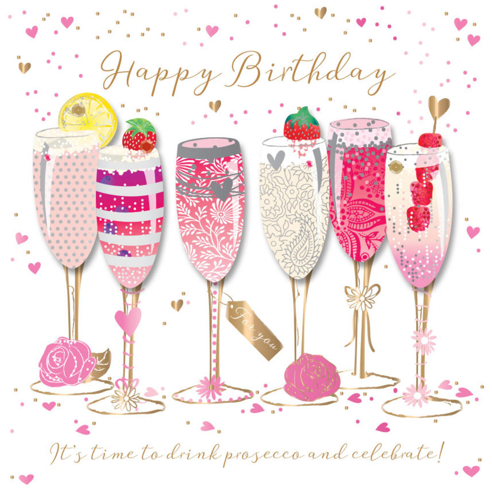 Champaign clipart prosecco. Happy birthday handmade embellished