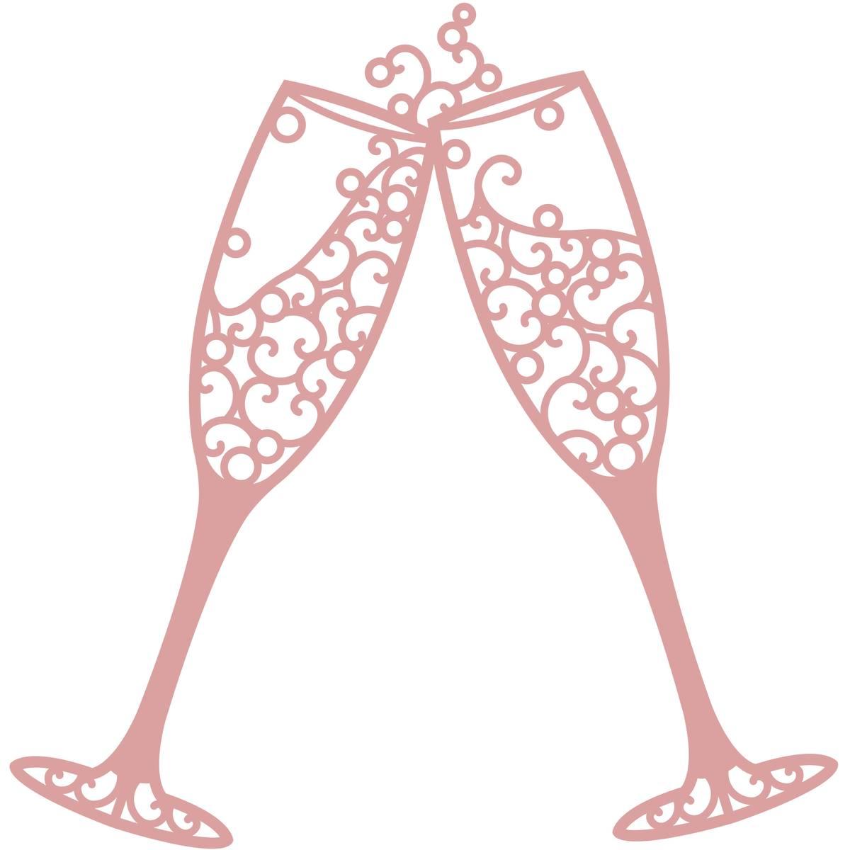 Champaign clipart prosecco. Intricut champagne glasses die