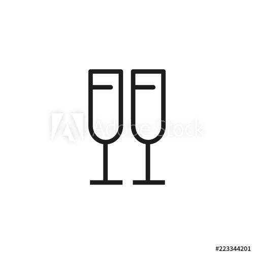 Flutes line icon champagne. Champaign clipart anniversary party