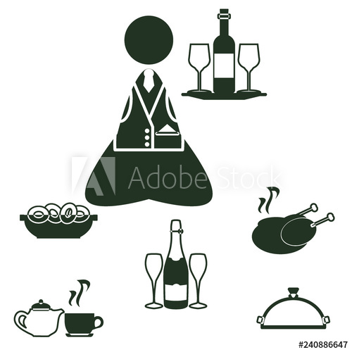 Champaign clipart champagne afternoon tea. Icon set waitress and