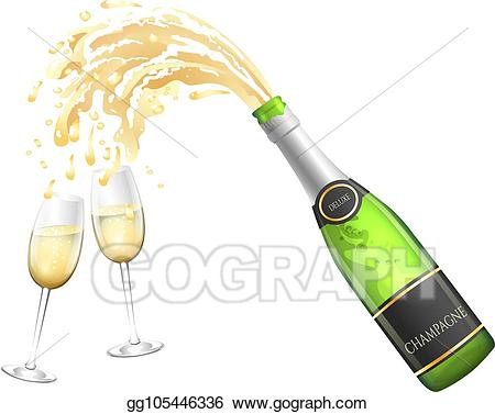 Vector and glasses . Champaign clipart champagne bottle