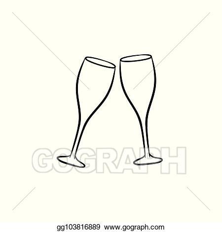 Champaign clipart champagne clink. Eps illustration glasses hand