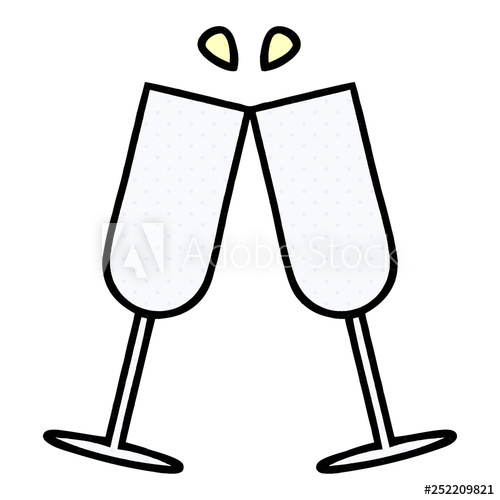 Comic book style cartoon. Champaign clipart champagne flute