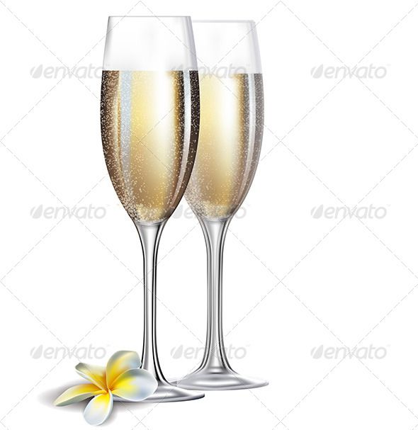 Two glasses and flower. Champaign clipart champagne flute