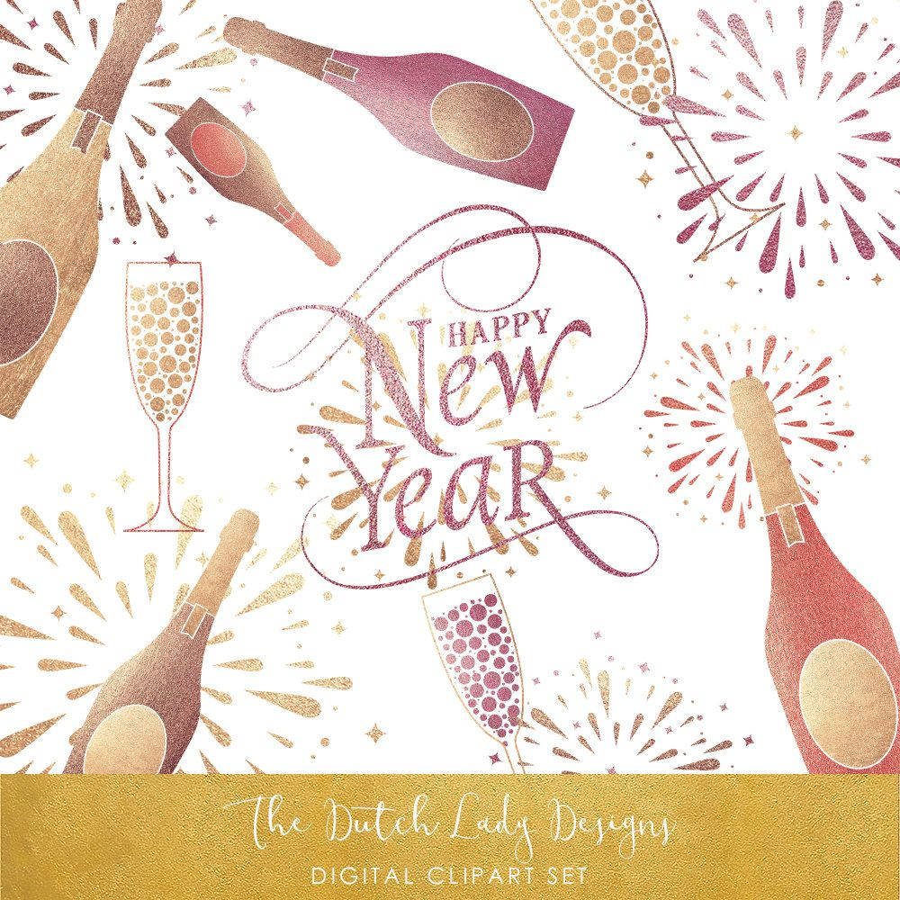 Happy new year set. Champaign clipart champagne party