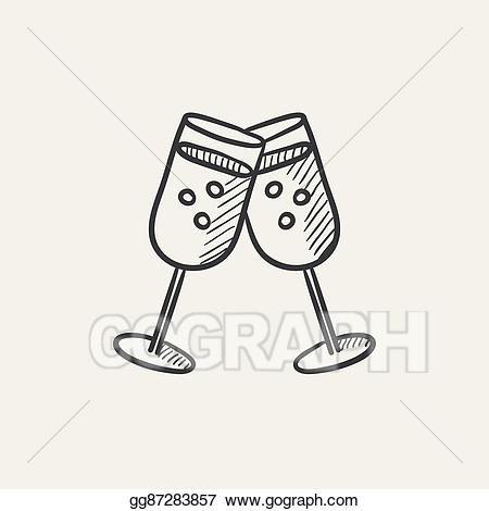 Champaign clipart champagne party. Vector art two glasses