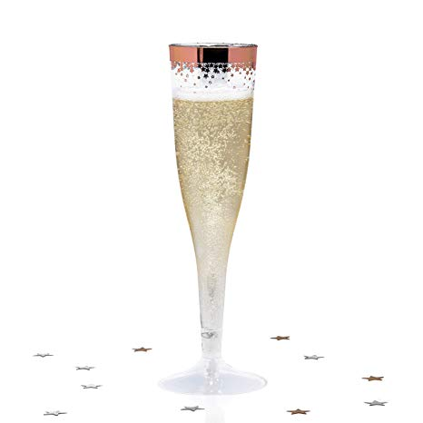 Champaign clipart champagne party. Rose gold plastic flutes